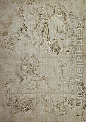 Sketch of figures and scenes from the antique age by Giovanni Bellini - Reproduction Oil Painting