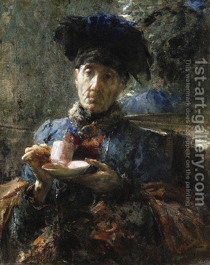 Old Woman Drinking Tea by Antonio Mancini - Reproduction Oil Painting