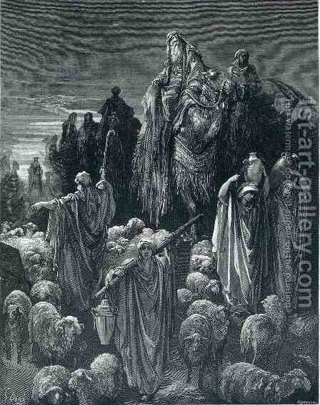 Jacob Goeth Into Egypt by Gustave Dore - Reproduction Oil Painting