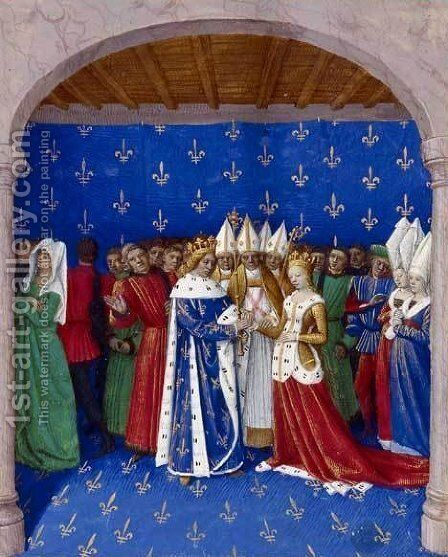Marriage of Charles IV and Marie of Luxembourg by Jean Fouquet - Reproduction Oil Painting