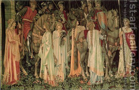 The Arming and Departure of the Knights by Sir Edward Coley Burne-Jones - Reproduction Oil Painting