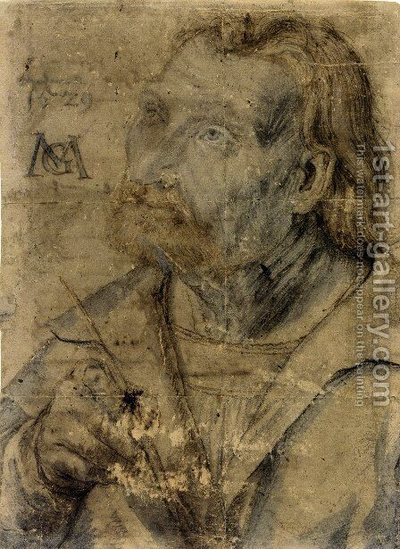 John the Apostle (Half Length Portrait of a Man with a Pinfeather Looking Up) by Matthias Grunewald (Mathis Gothardt) - Reproduction Oil Painting