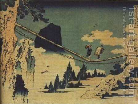 The Suspension Bridge Between Hida and Etchu by Katsushika Hokusai - Reproduction Oil Painting