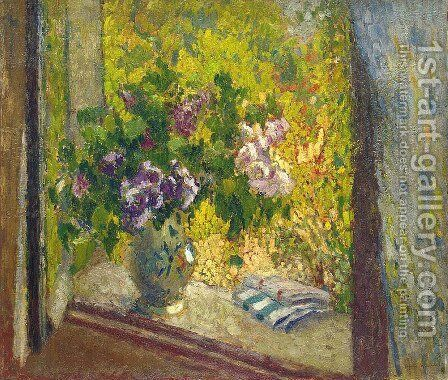Vase of Flowers in a Window by Henri Martin - Reproduction Oil Painting