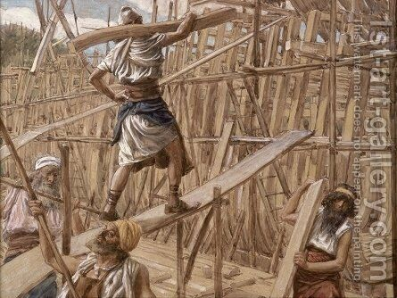 Building the Ark by James Jacques Joseph Tissot - Reproduction Oil Painting