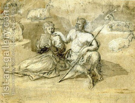 Drawing of a satyr, a girl and goats by Claude Lorrain (Gellee) - Reproduction Oil Painting