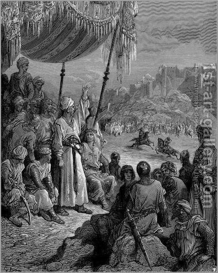 A Friendly Tournament during the Third Crusade in 1189 by Gustave Dore - Reproduction Oil Painting