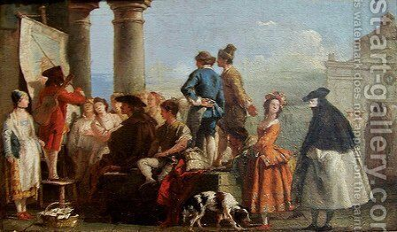 The Storyteller by Giovanni Domenico Tiepolo - Reproduction Oil Painting