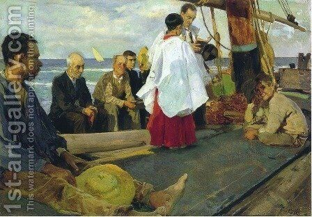 Blessing the Boat by Joaquin Sorolla y Bastida - Reproduction Oil Painting