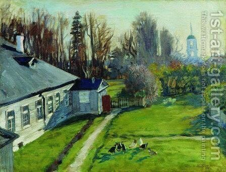 In the estate of a collector Schwartz, Uspenskoe in the Staraya Ladoga by Boris Kustodiev - Reproduction Oil Painting