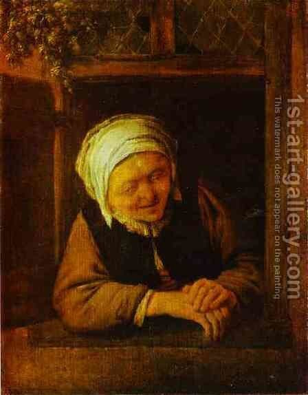 An Old Woman by Window by Adriaen Jansz. Van Ostade - Reproduction Oil Painting