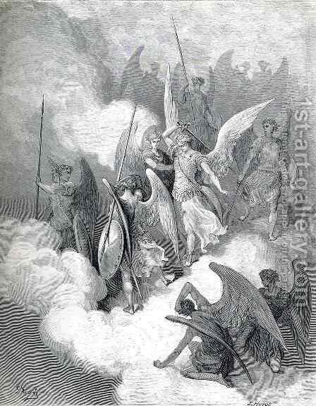 Abdiel and Satan by Gustave Dore - Reproduction Oil Painting