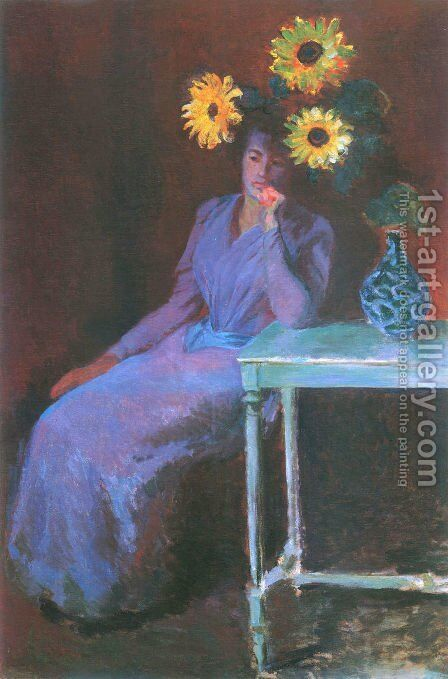 Portrait of Suzanne Hoschede with Sunflowers by Claude Oscar Monet - Reproduction Oil Painting