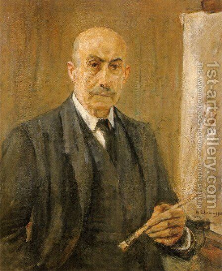 Self-Portrait with palette 2 by Max Liebermann - Reproduction Oil Painting