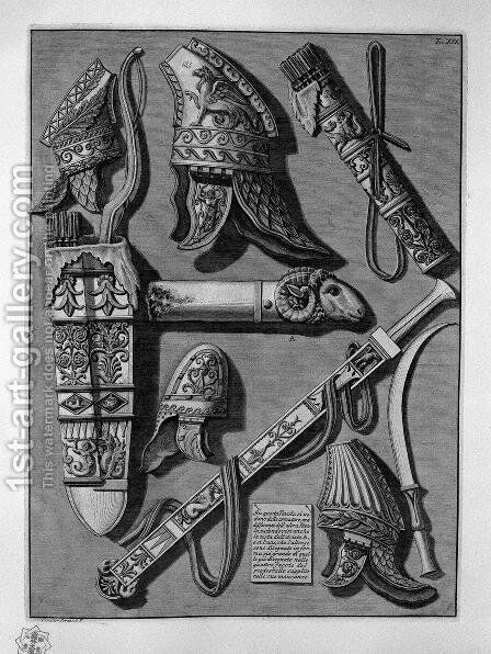 Weapons and armor by Giovanni Battista Piranesi - Reproduction Oil Painting
