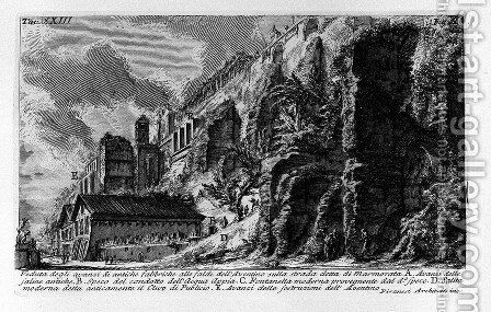 The Roman antiquities, t. 1, Plate XXIII. Aventine Hill. by Giovanni Battista Piranesi - Reproduction Oil Painting