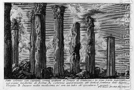 The Roman antiquities, t. 1, Plate XIV by Giovanni Battista Piranesi - Reproduction Oil Painting