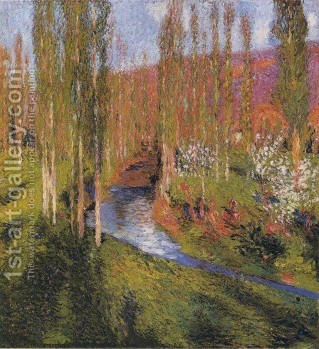 Poplars on the Edge of Vert by Henri Martin - Reproduction Oil Painting