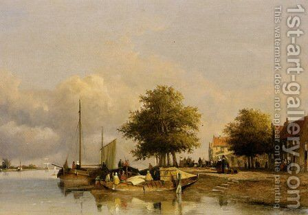Townsfolk on a quay, Wijk Bij Duursrede by Jan Hendrik Weissenbruch - Reproduction Oil Painting
