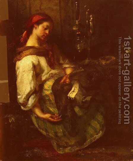 The Sleeping Seamstress by Jean-Francois Millet - Reproduction Oil Painting