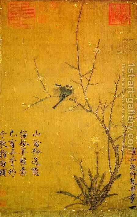 Plum and birds by Huizong Emperor - Reproduction Oil Painting