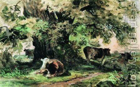 Cows under the oak by Ivan Shishkin - Reproduction Oil Painting