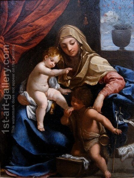 Madonna with Child and St. John the Baptist by Guido Reni - Reproduction Oil Painting