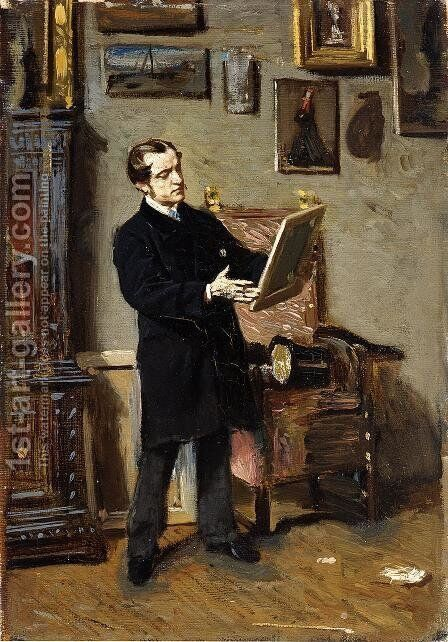 Self-portrait while looking at a painting by Giovanni Boldini - Reproduction Oil Painting