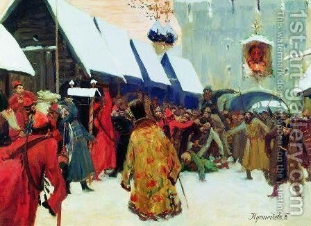 Revolt against the boyars in the old Russia by Boris Kustodiev - Reproduction Oil Painting