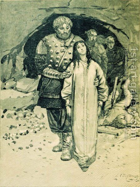 Dobrynya Nikitich. Illustration for the book Russian epic heroes by Andrei Petrovich Ryabushkin - Reproduction Oil Painting