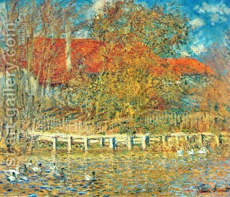 The Pond with Ducks in Autumn by Claude Oscar Monet - Reproduction Oil Painting