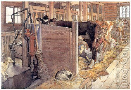 The stable by Carl Larsson - Reproduction Oil Painting