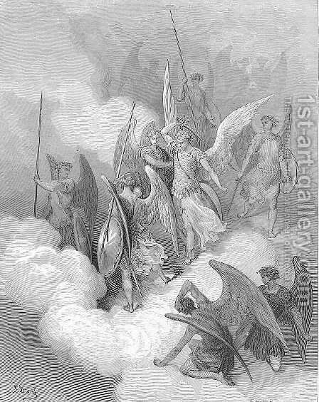 This greeting on thy impious crest receive by Gustave Dore - Reproduction Oil Painting