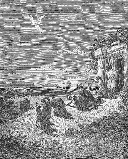 The Angel Raphael and the Family of Tobit by Gustave Dore - Reproduction Oil Painting
