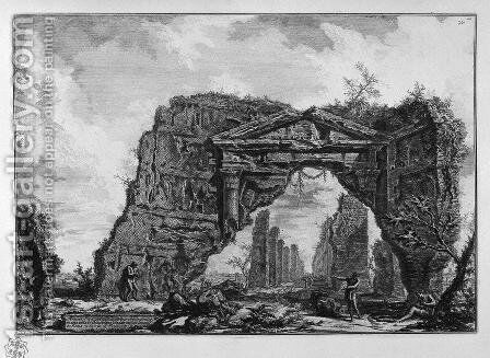 Ancient temple commonly known as the Health on the Way at Albano, five miles distant from Rome by Giovanni Battista Piranesi - Reproduction Oil Painting