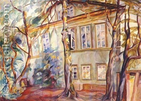 House under the trees by Boris Dmitrievich Grigoriev - Reproduction Oil Painting