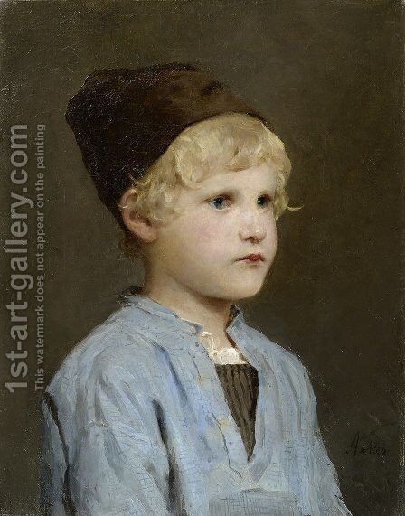 Portrait of a boy with cap by Albert Anker - Reproduction Oil Painting