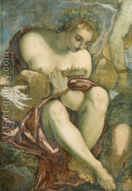 Muse with Lute by Jacopo Tintoretto (Robusti) - Reproduction Oil Painting