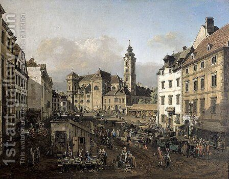 Freyung in Vienna, View from the southeast by Bernardo Bellotto (Canaletto) - Reproduction Oil Painting