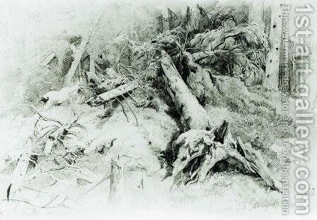 Wind Fallen Trees 4 by Ivan Shishkin - Reproduction Oil Painting