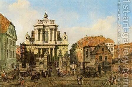 Carmelite Church in Warsaw by Bernardo Bellotto (Canaletto) - Reproduction Oil Painting