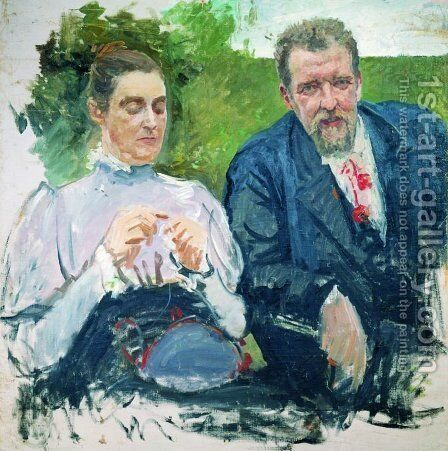 Portrait of I. F. Tyumenev with his wife by Andrei Petrovich Ryabushkin - Reproduction Oil Painting
