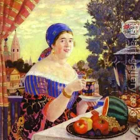 The Merchant's Wife at Tea 2 by Boris Kustodiev - Reproduction Oil Painting