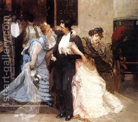 A l'Aube (detail) by Charles Hermans - Reproduction Oil Painting