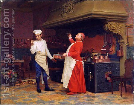 The Marvelous Sauce by Jehan Georges Vibert - Reproduction Oil Painting