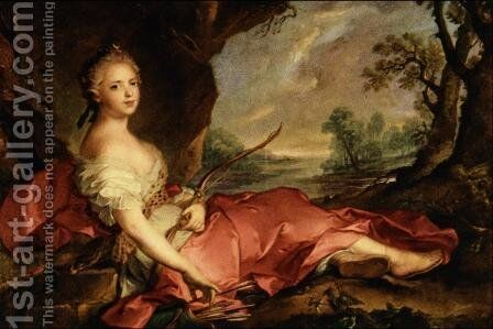 Portrait of Mary Adelaide of France as Diana by Jean-Marc Nattier - Reproduction Oil Painting