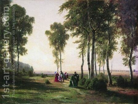 Landscape with walking people by Ivan Shishkin - Reproduction Oil Painting