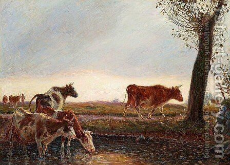 Cows homeward bound in the evening by Theodor Esbern Philipsen - Reproduction Oil Painting