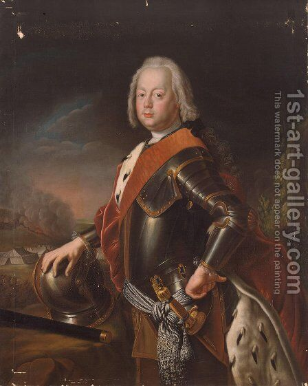 Portrait of Christian August, Prince of Anhalt Zerbst, father of Catherine II of Russia. by Antoine Pesne - Reproduction Oil Painting