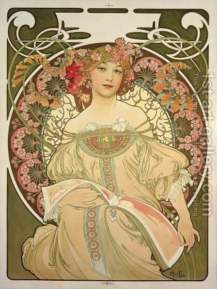 Champagne Printer Publisher by Alphonse Maria Mucha - Reproduction Oil Painting
